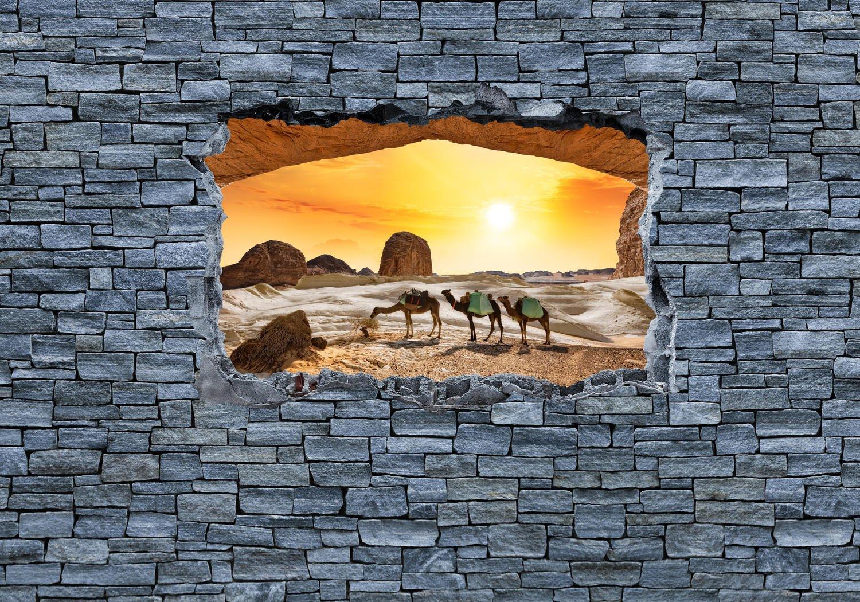 Fototapete 3D Sunrise Earth Space Space Space - Steinmauer L 300 x 210 cm - 6 Teile Vlies Tapete Wandtapete - Moderne Vliestapete - Wandbilder - Design Wanddeko - Wand Dekoration wandmotiv24 ffc2f9