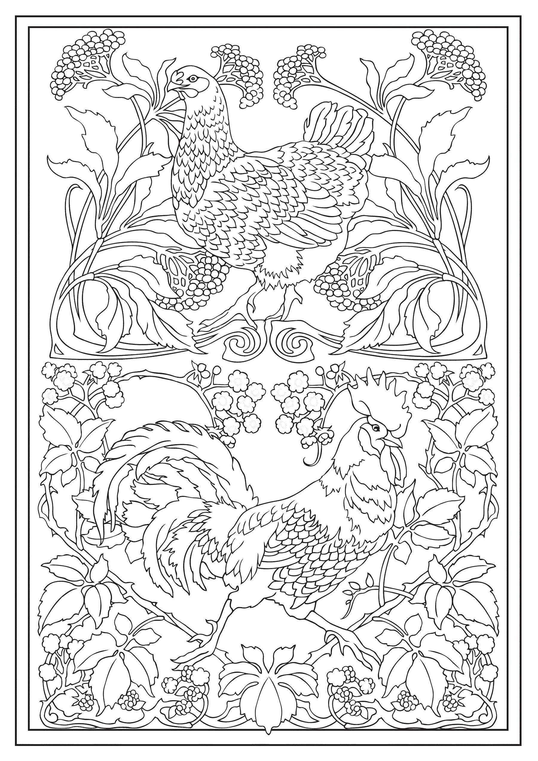 - Dover Creative Haven Art Nouveau Animal Designs Coloring Book