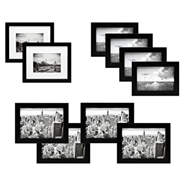 10 Piece Black Gallery Picture Frame Gift Set - Two 8x10, Four 5x7, Four 4x6 Inch Frames - Glass Front and Wide Molding - Includes both Attached Hanging Hardware and Desktop Easel to Display Photos