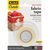 Scotch Removable Fabric Tape, 3/4 in x 180 in, 1/Pack, Removable and Double Sided (FTR-1-CFT)