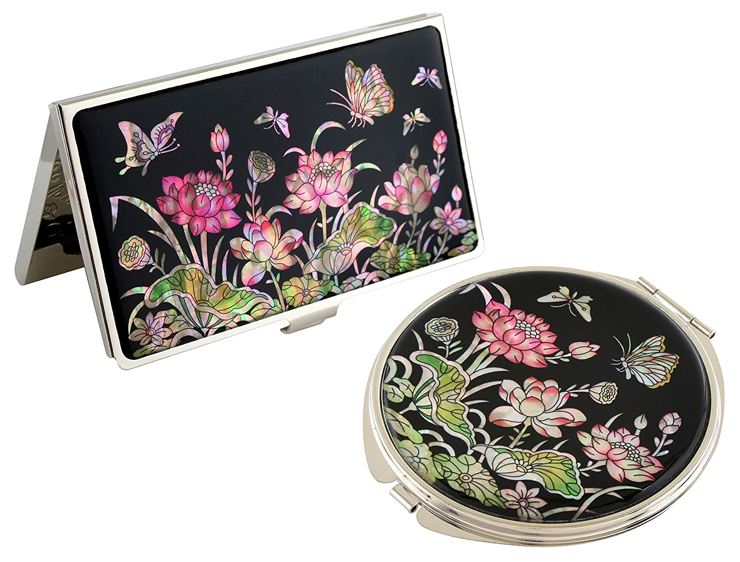Mother of Pearl Rosa Lotus Flower Design Compact Mirror Card Business Credit Name Card Mirror Holder Set Stainless Steel Engraved Slim Id Money Case by Antique Alive card case 0f92ef