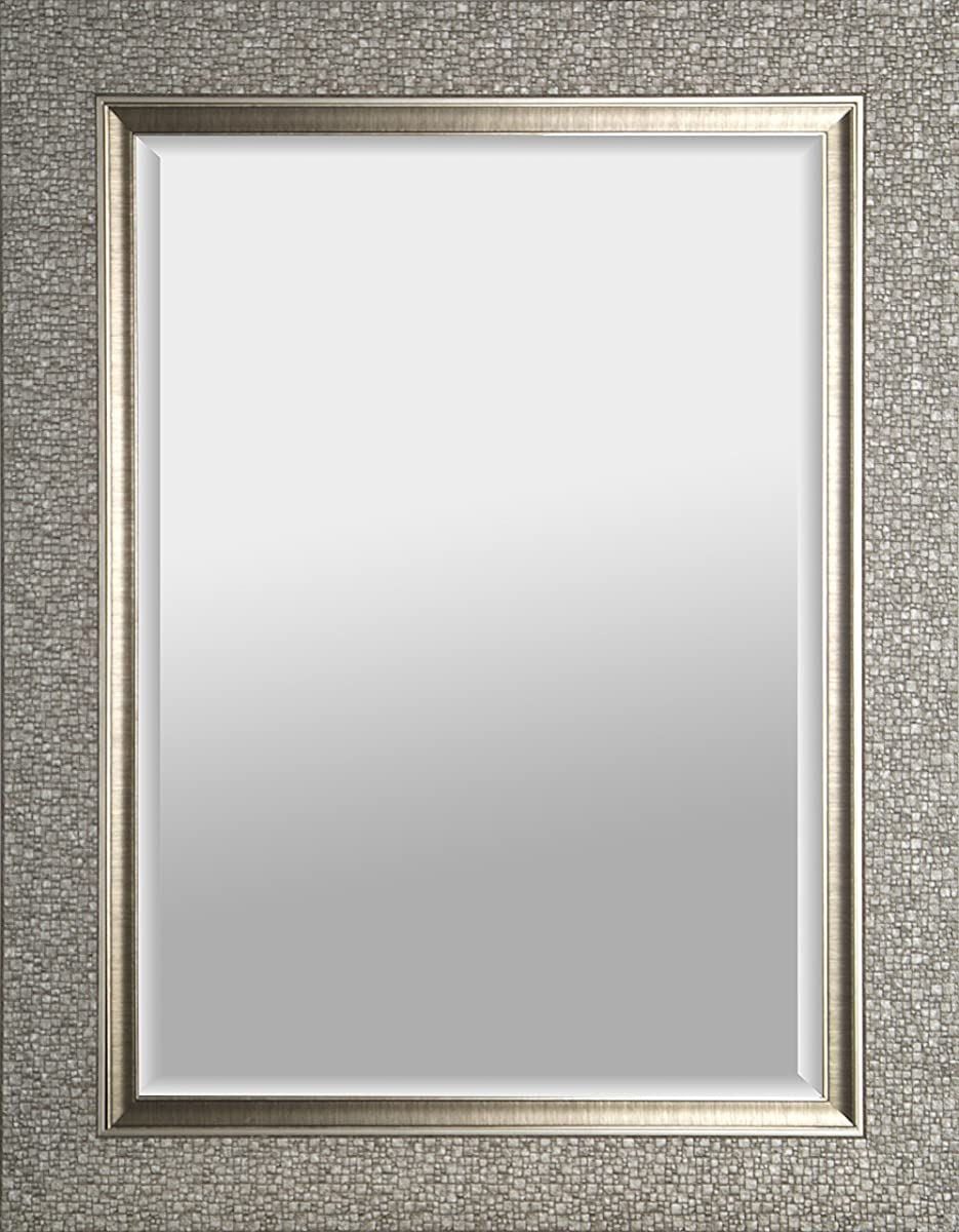 Mirrorize.ca Rectangular Beveled Hanging Wall Decorative Mirror with Mosaic Silver Frame, 27-Inch by 35-Inch