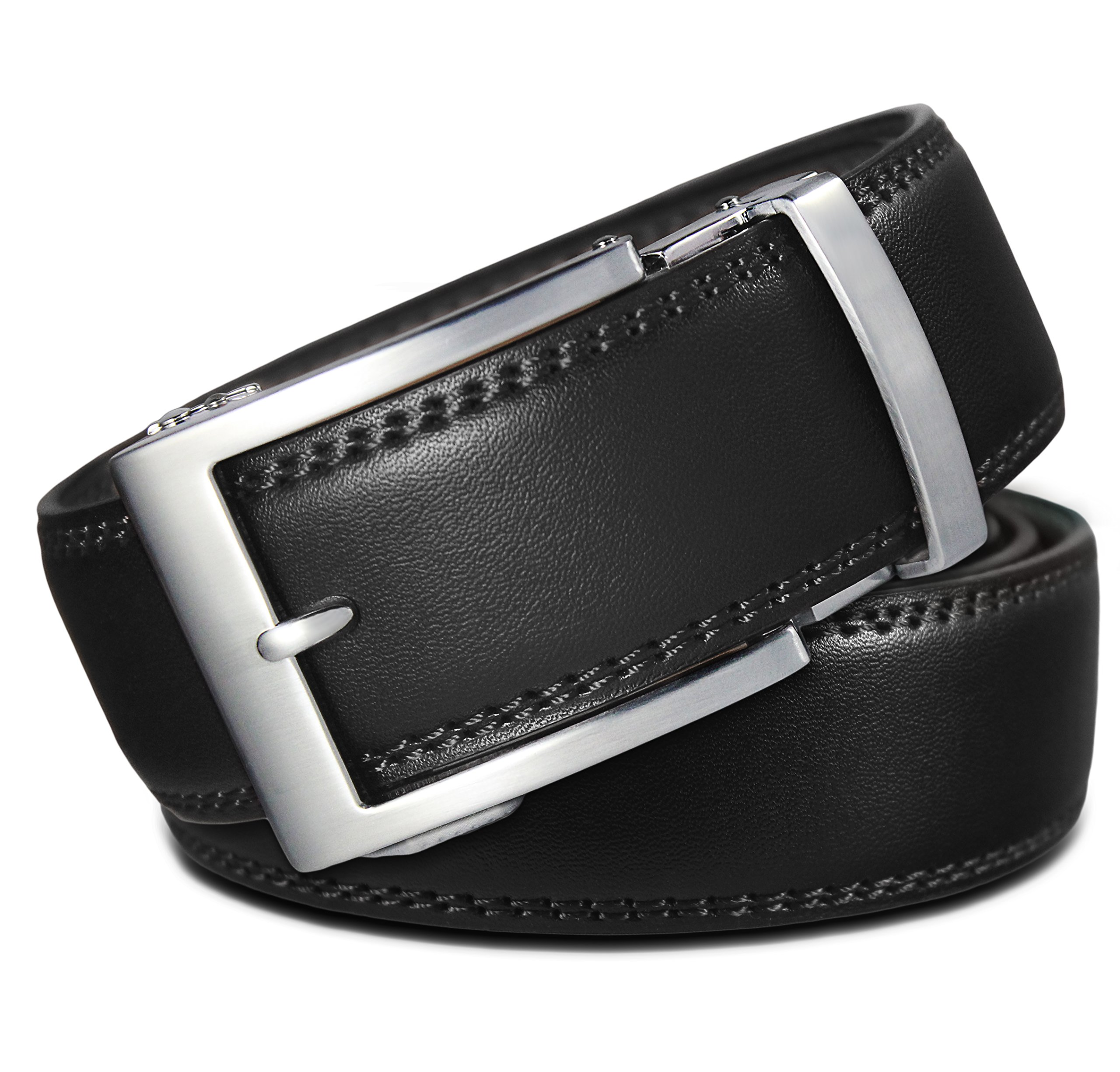 748b368623b Men s Holeless Leather Ratchet Click Belt - Trim to Perfect Fit (Various  Styles and Colors