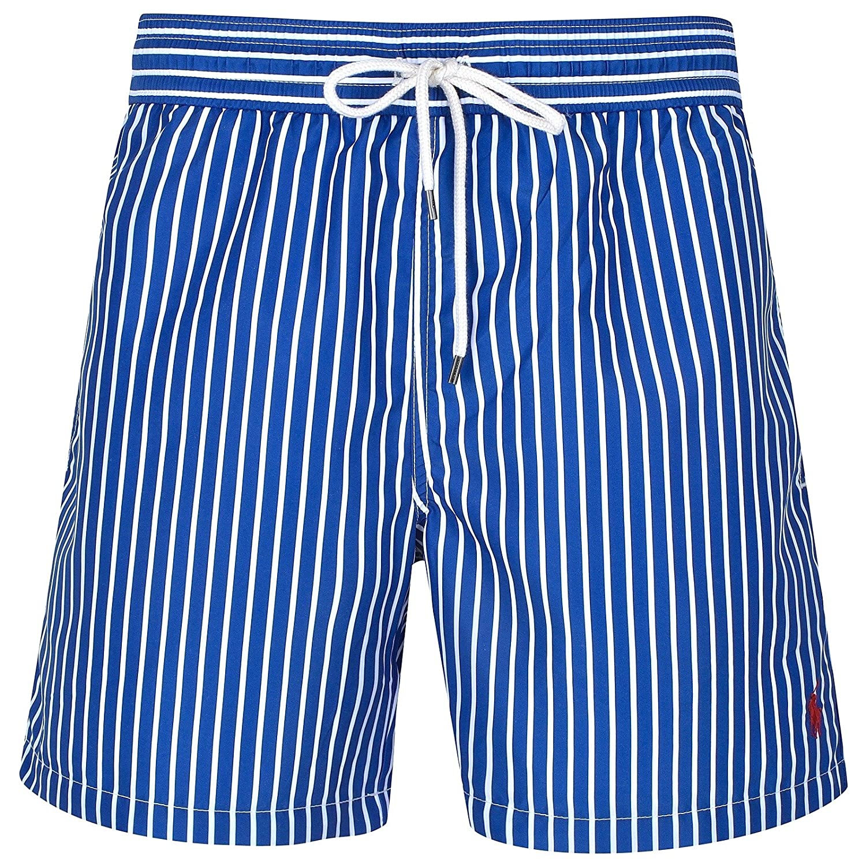 Ralph Lauren Badeshort Traveler Swim Short Blau Weiß gestreift