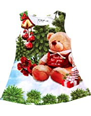 Doreme Baby Girls Christmas Tree Casual Dress Teddy Print