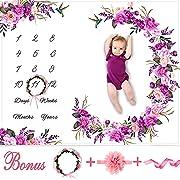 Baby Monthly Milestone Blanket Girl - Floral Plush Fleece Baby Photography Backdrop Memory Blanket for Newborns Large - New Moms Baby Shower Gift Set - 100% Wrinkle-Free - Bonus Wreath + Headband