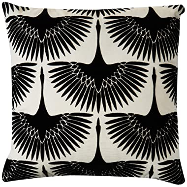 Rivet Modern Velvet Geese Silhouette Decorative Throw Pillow, 17  x 17 , Black
