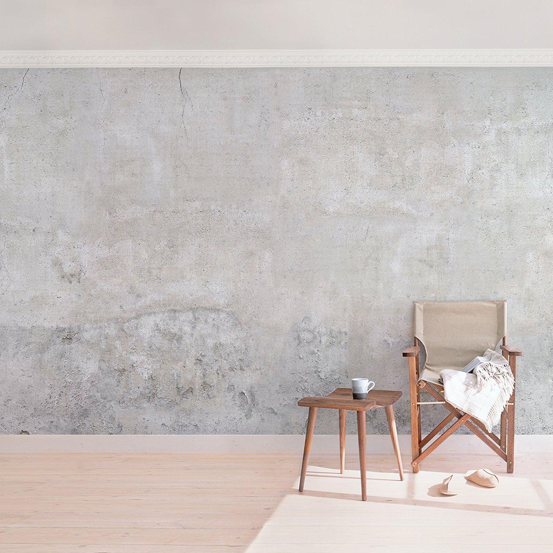 Vliestapete, Top 6, Wandbild im Querformat, Tapeten-Wandbild, XXL-Foto, 3D-Tapete, Wandschmuck für Schlafzimmer Wohnzimmer, Maße H x B225 x 336 cm, Motiv Rustikaler Tisch im Beton-Design