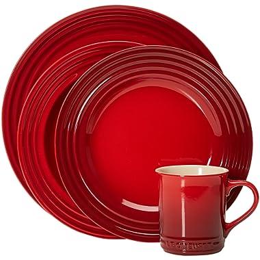 Le Creuset Stoneware 16-Piece Dinnerware Set, Cerise (Cherry Red)