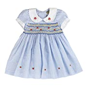 sissymini - Infant and Toddlers Soft Cotton Fabric Hand Smocked Dress | Becky Bradd's Baby Blue Plaid in Light Aqua 2T