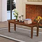Dudley Dining Bench with Wood Seat in Mahogany Finish