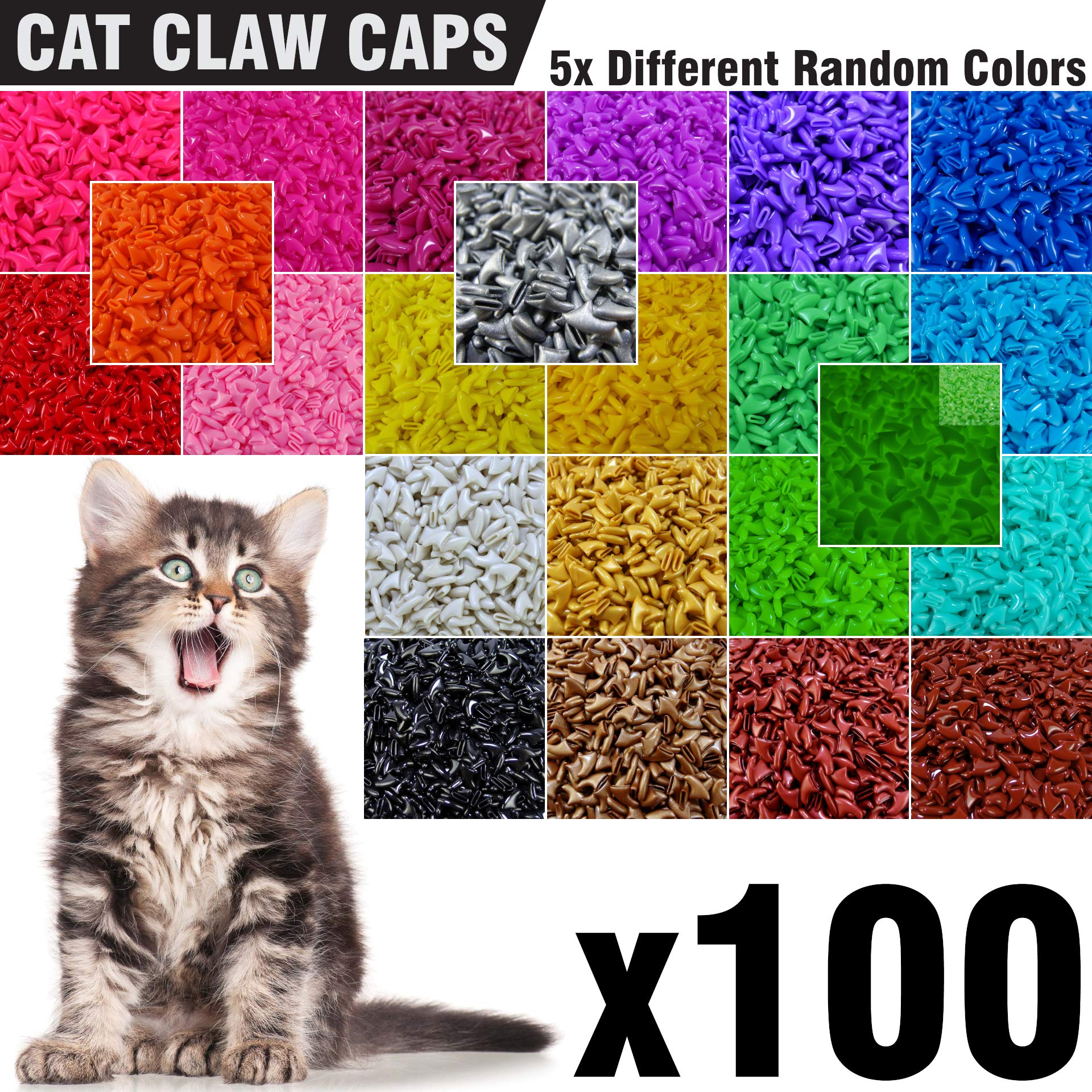 zetpo 100 pcs soft cat nail caps for cats claws 5x