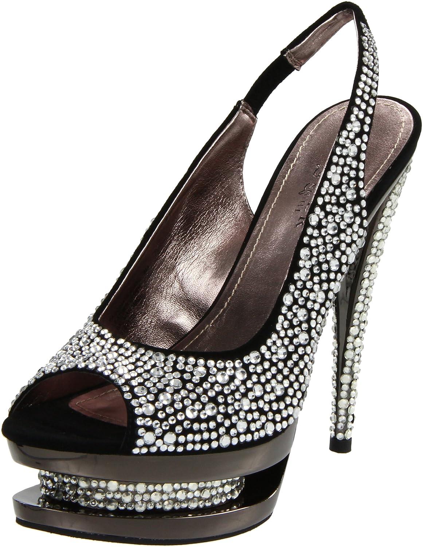 Pleaser Women's Fascinate-654Sl/BS/PCH Platform Sandal B004V6D4U2 9 B(M) US|Black Suede/Pewter Chrome