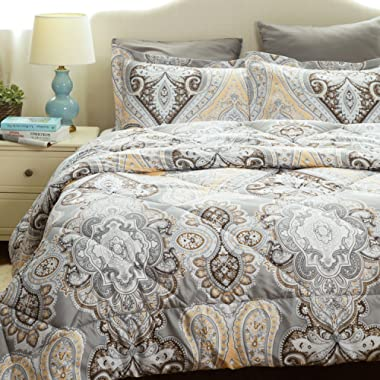 Bedsure Twin Comforter Set Classics Grey Paisley Design Down Alternative Comforter 2 Piece (1 Comforter + 1 Pillow Sham)(68 x88 )