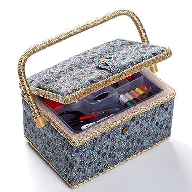 bbloop Medium Vintage Sewing Basket with Notions Package - Blue Peacock Style