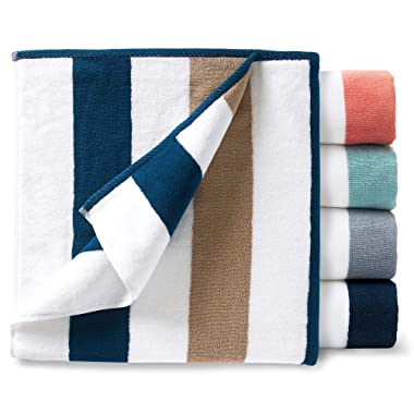 Oversize Plush Cabana Towel by Laguna Beach Textile Co | Navy and Almond Tan | 1 Classic, Beach and Pool House Towel