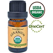 Organic Geranium Oil 10ml - USDA Organic Certified - 100% Natural Pure Undiluted Therapeutic Grade for Aromatherapy Scents Diffuser Natural Deodorant Skincare Anti Aging Calming Anxiety Relief