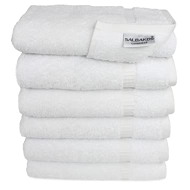 "SALBAKOS Premium Organic Turkish Cotton Hand Towels 6-Pack, 700 GSM, 16""x30"", White, Luxury Hotel & Spa"