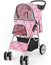 VIVO Pink Camo 4 Wheel Pet Stroller for Cat, Dog and More, Foldable Carrier Strolling Cart (STROLR-V001M)