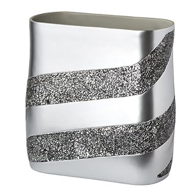 DWELLZA Silver Mosaic Bathroom Trash Can (11  x 5.5  x 11 ) Decorative Wastebasket- Resin Waste Paper Baskets Design- Space Friendly Bath Rubbish Trash Can (Silver Gray)