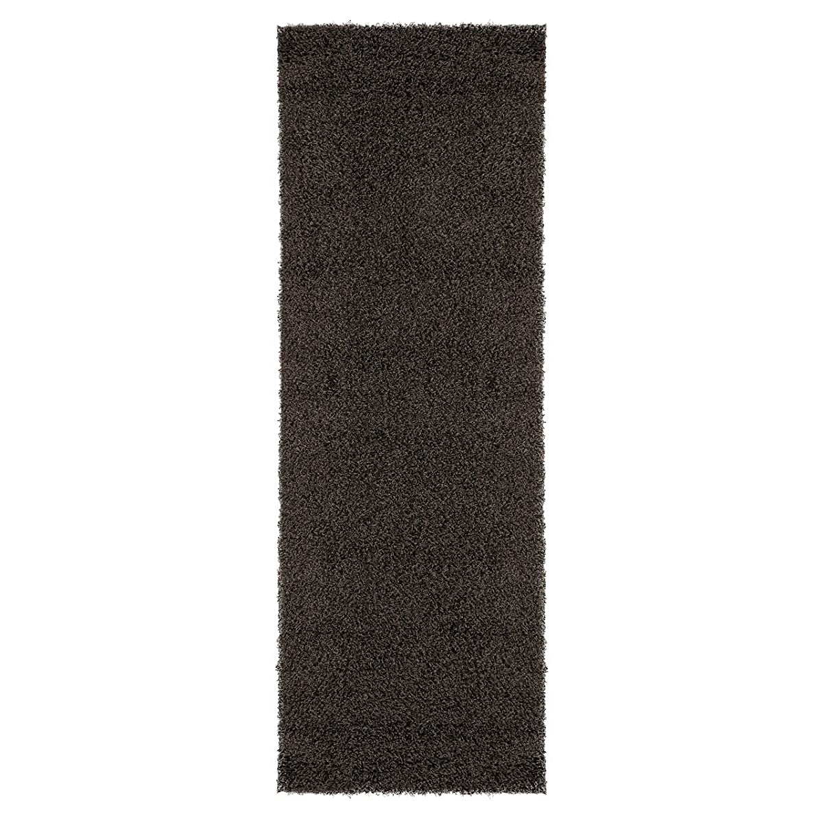 "Ottomanson Soft Cozy Color Solid Shag Runner Rug Contemporary Hallway and Kitchen Shag Runner Rug, Dark Gray, 27""L X 80""W"