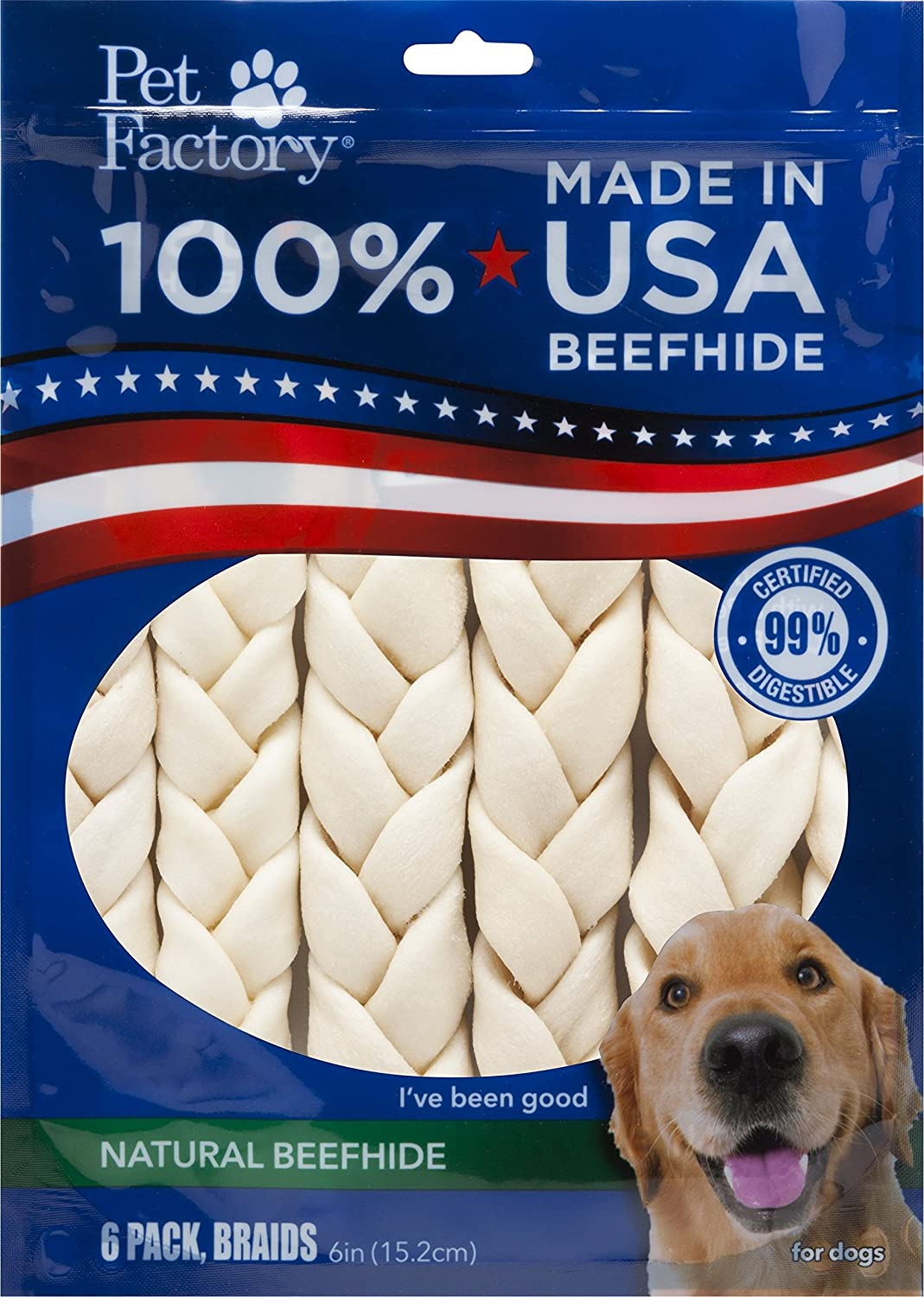 Pet Factory 78106 Beefhide 6 Braided Sicks. 6 Pack. Made in USA