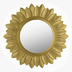 Homesake Sunburst Decorative Wooden Handcarved Wall Mirror, Royal Gold