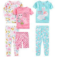Girls' 6-Piece Snug Fit Cotton Pajama Set