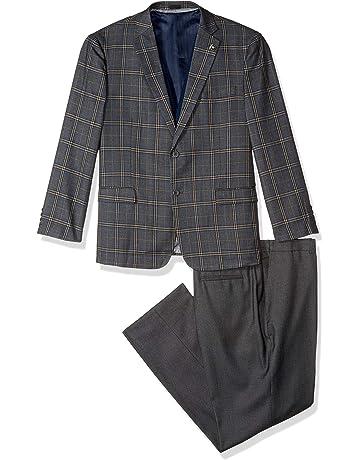 44017ce91 STACY ADAMS Men's 4-Piece Notch Lapel Plaid Vested Suit with 2 Pants