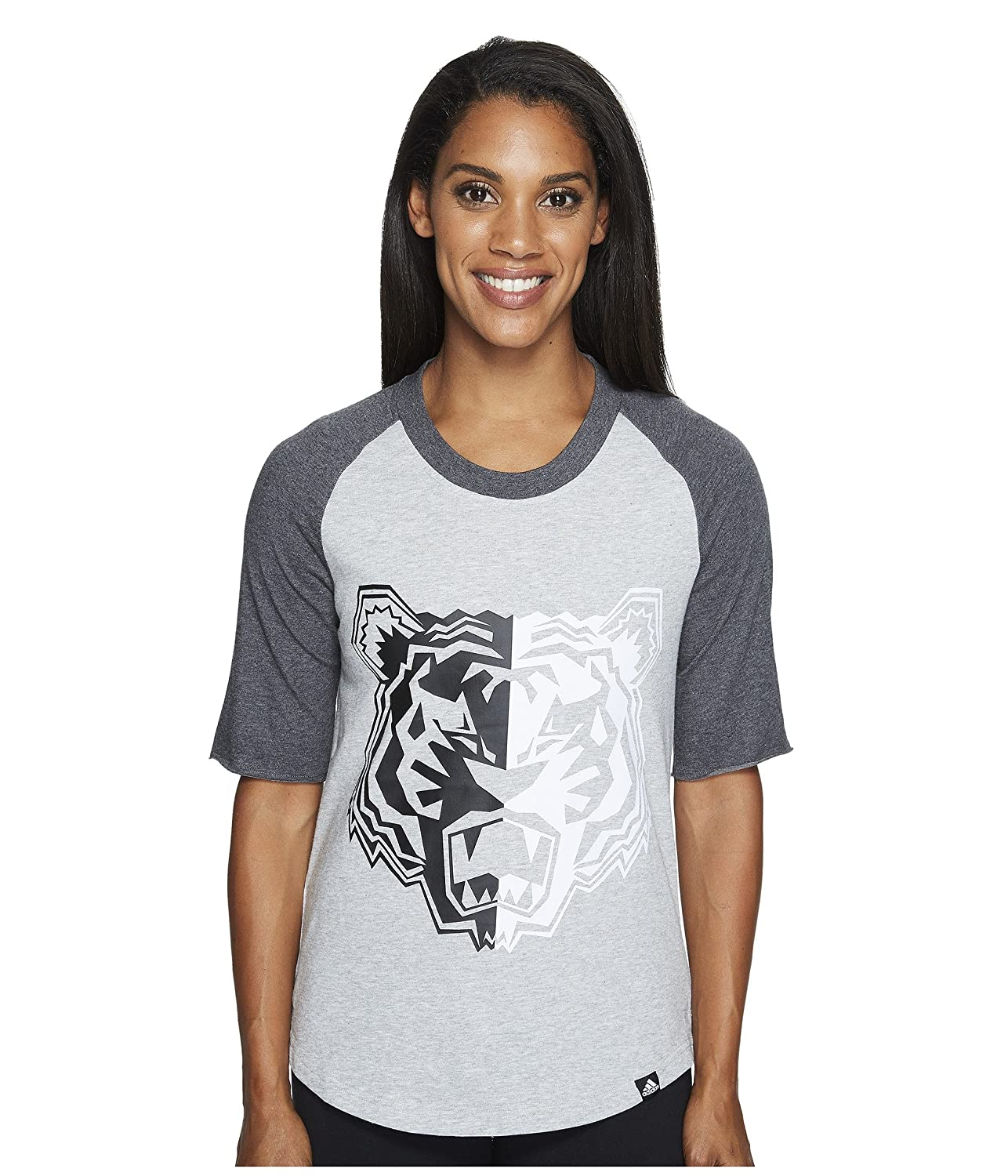 Medium Grey Heather Dark Grey Heather Adi Tiger Large adidas Women's Badge of Sport Logo Tee