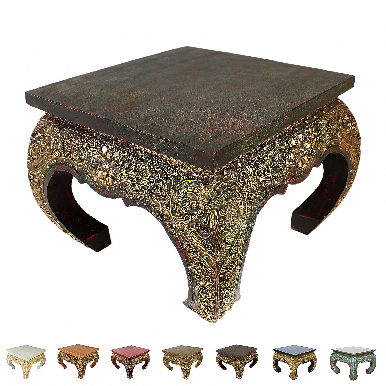 Opiumtisch Beistelltisch Couchtisch 50 x 50cm Thailand Tisch Holz Dunkel Antik