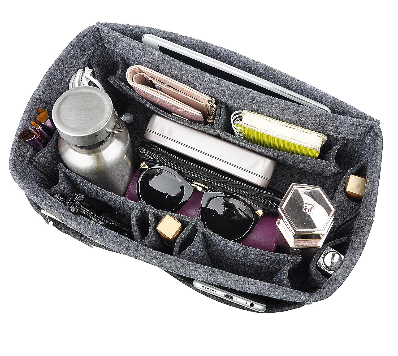 Grey Large Felt Purse Organizer Insert, 12 Pockets Handbag Oragnizer Bag in Bag