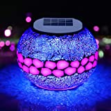 Pandawill Mosaic Solar Glass Garden Decoration Light, Rechargeable Color-Changing Solar Table Lamp, Waterproof LED Night Ligh
