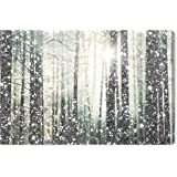 """Amazon Brand – Stone & Beam Modern Silver and White Forest Print on Canvas Bathroom Wall Art Decor, 36"""" x 24"""""""