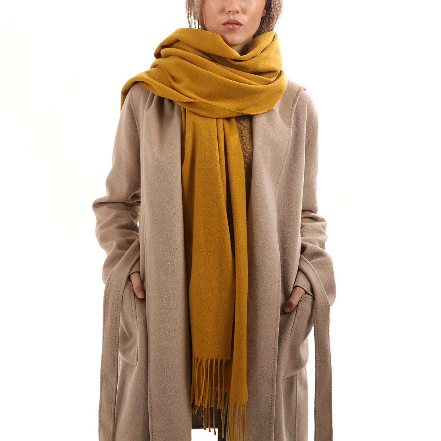 Mustard Cashmere Scarf  Gift Wrapped  Extra Large  Scarves for Women by UNLABELED
