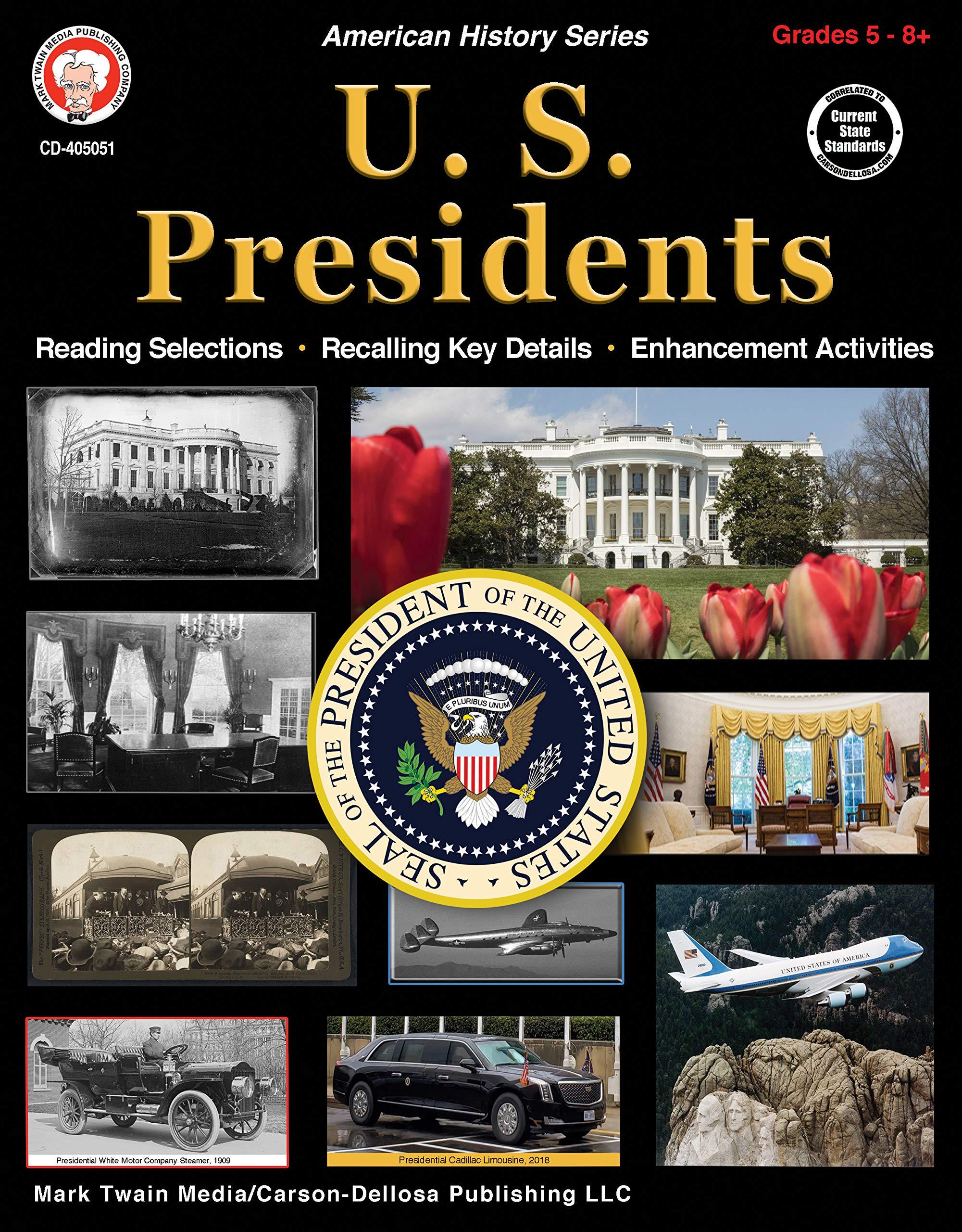 Mark Twain – U.S. Presidents Workbook, Social Studies Resource Book, 128 Pages, Grades 5–12