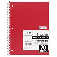 Mead Spiral Notebook, 1 Subject, College Ruled Paper, 70 Sheets, 10-1/2 x 7-1/2, Assorted Colors (05512)