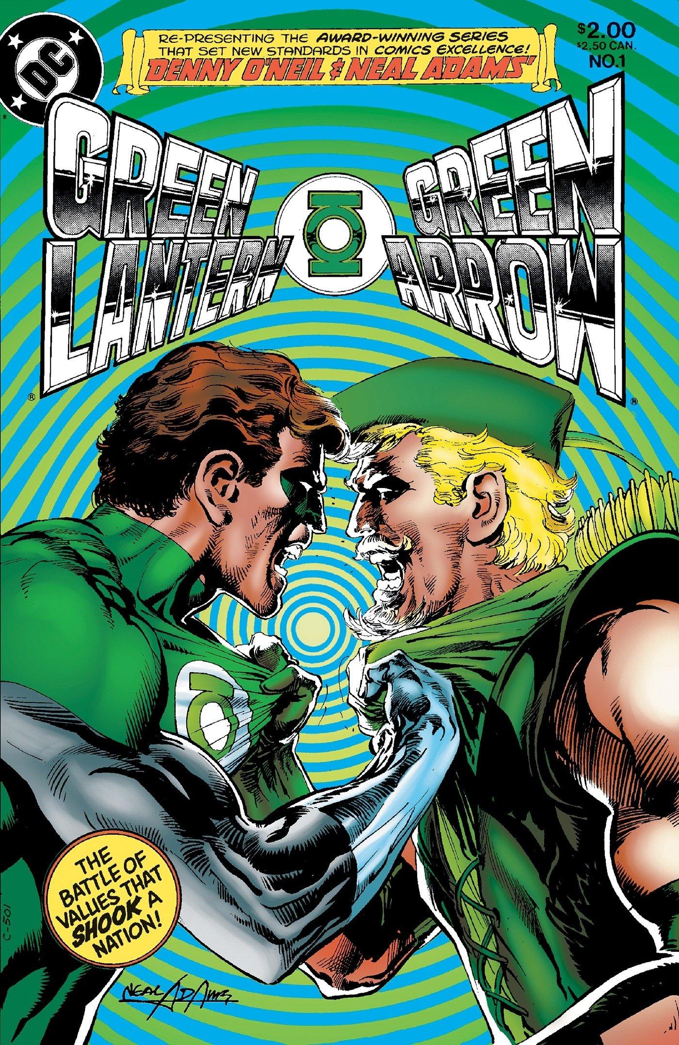 Hal Jordan e Oliver Queen encaram suas diferenças políticas em arte de Neal Adams.