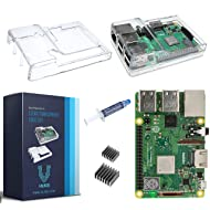 V-Kits Raspberry Pi 3 Model B+ (B Plus) with Clear Transparent Case and Set of 2 Heatsinks [2018 Model]