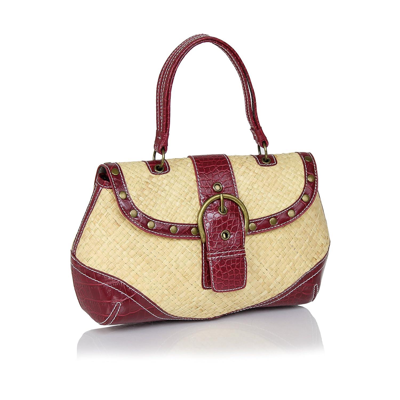 8a4e6d3404 Vintage straw handbag faux leather trim top handle summer shoulder bag  buckle dark red handbags jpg