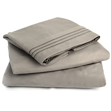 Lavish Comforts HOTEL LUXURY SHEET SET Double Brushed Microfiber Platinum Collection Bedding Set, Deep Pockets, Wrinkle Resistant, Hypoallergenic Sheet & Pillow Case Set (Grey, Queen)