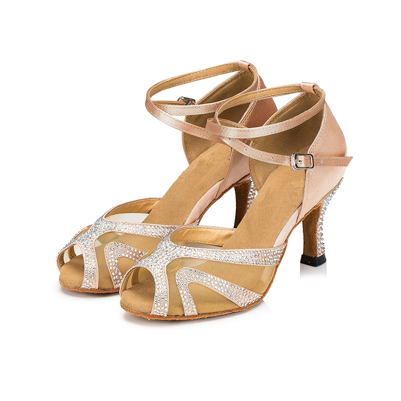 TTdancewear Rhinestones Ballroom Dance Shoes Women Latin Salsa Bachata Performance Dance Shoes Suede Sole B01E89ZGM0 6.5 B(M) US|Nude-3inch Heels