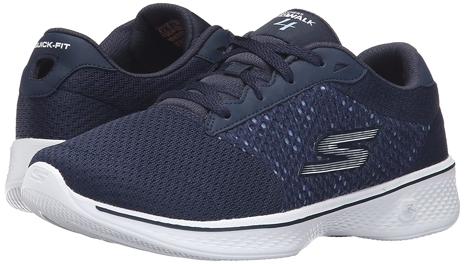 Skechers Performance Women's Go Walk 4 Exceed Lace-up Sneaker B01AH00V06 8.5 B(M) US|Navy/White