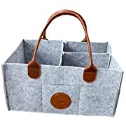 Baby Diaper Caddy Organizer - Baby Shower Gift Basket for Boys Girls | Diaper Tote Bag | Nursery Storage Bin for Changing Table | Newborn Registry | Infant Portable Car Travel Organizer (Leather)