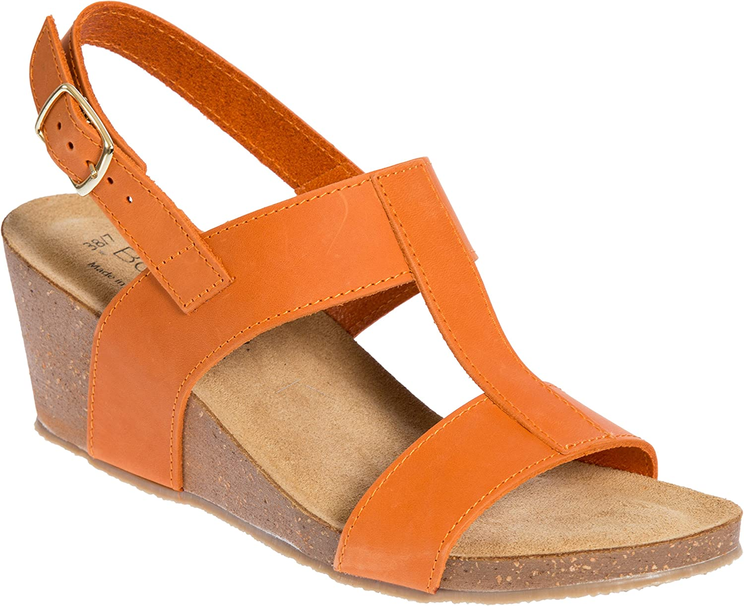 Bos. & Co.. Women's Lust Italian Leather T-Strap Wedge Sandals B07C287SCP EU38|Orange