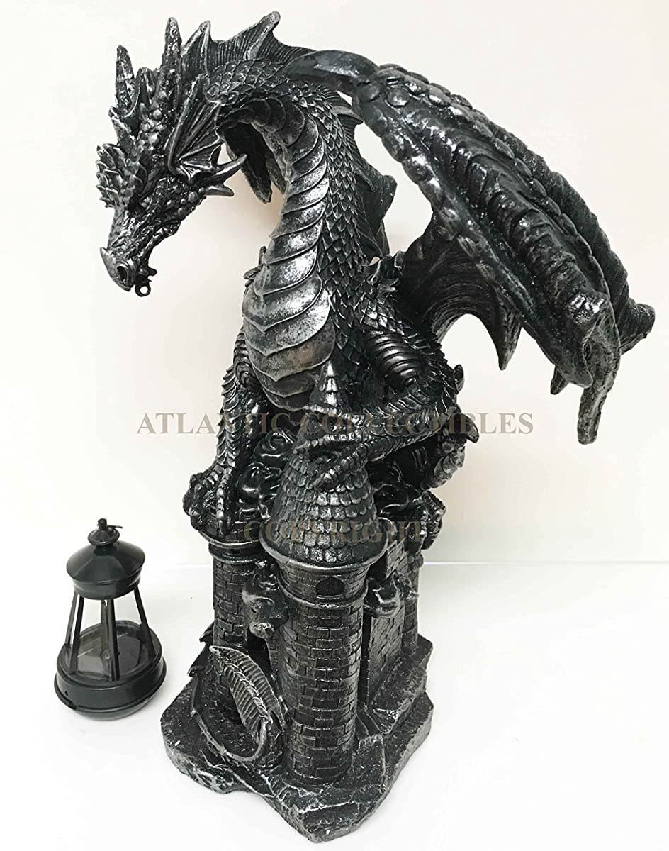 Ferocious Dark Beacon Dragon Guardian of Styx Castle Gate Statue With Solar LED Light Patio Pathways and Indoor Night Light