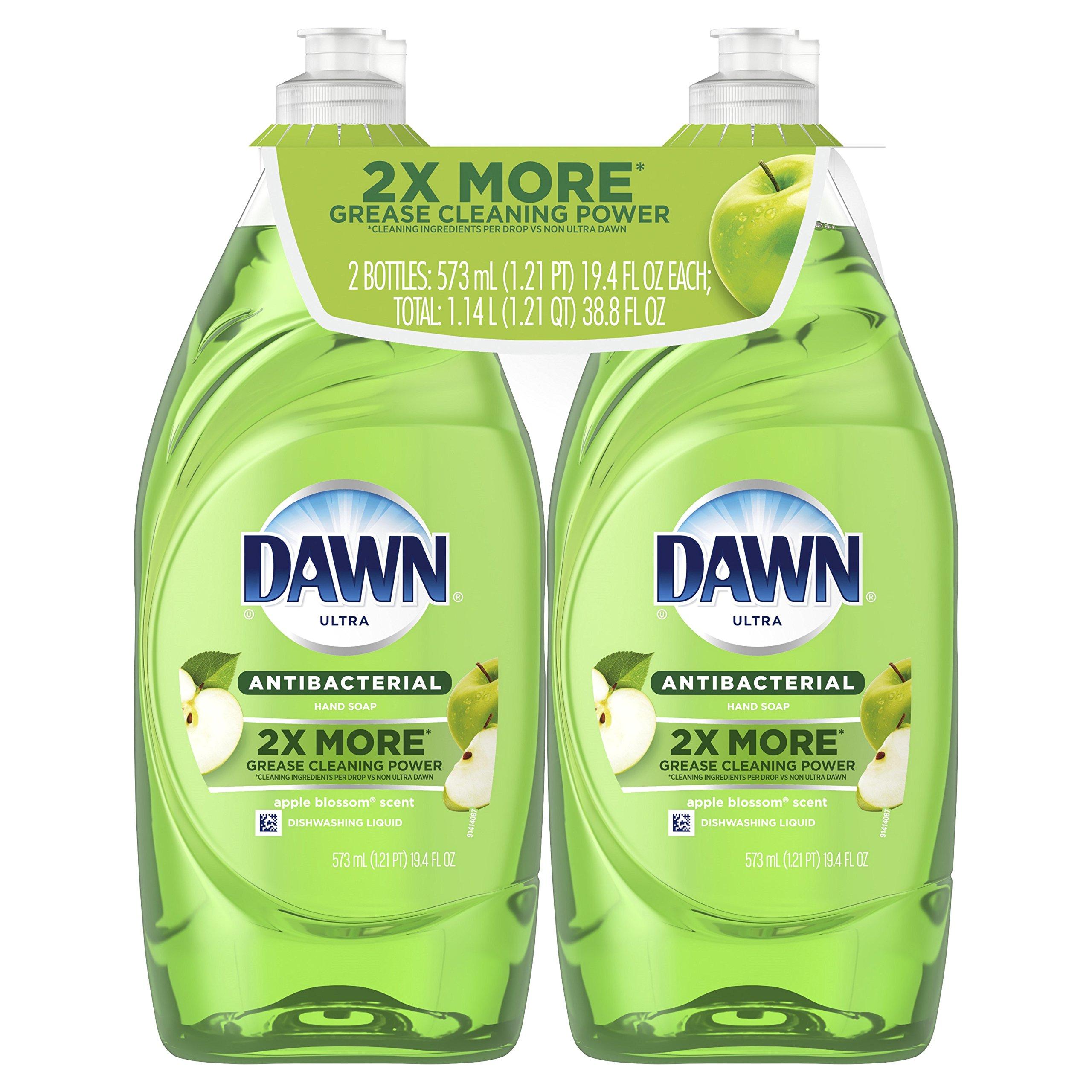 Dawn Ultra Antibacterial Dishwashing Liquid, Apple Blossom, 19.4 Fl Oz, 2 Count