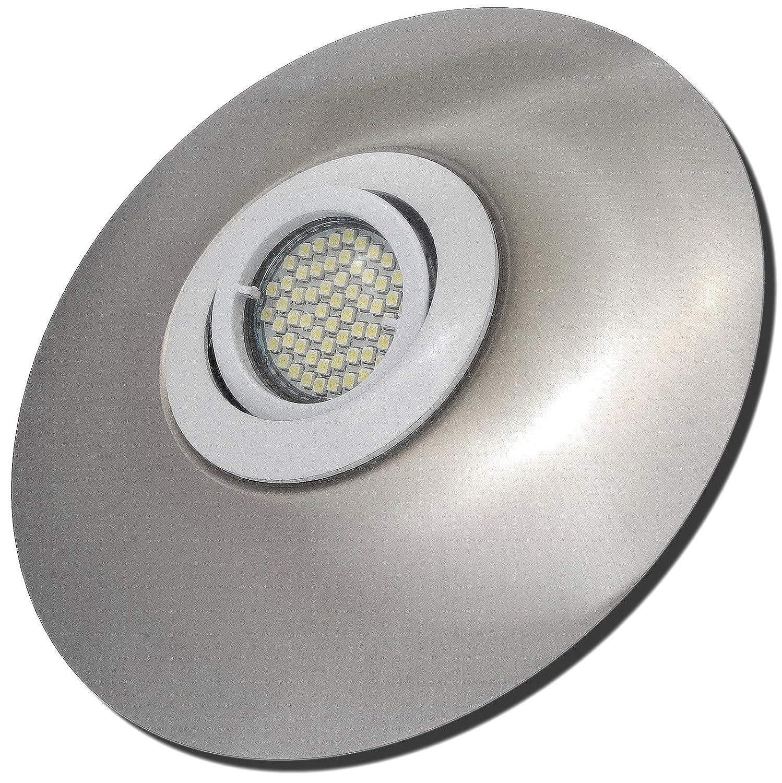 3 Stück SMD LED Einbaustrahler Big Laura 230 Volt 7 Watt Schwenkbar Weiß + Edelstahl geb.   Warmweiß