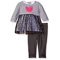 BON BEBE Baby Girls' 2 Piece Tulle Dress with Rear Snap Neck Opening and Jeggings