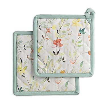 Maison d' Hermine Colmar 100% Cotton Set of 2 Pot Holders 8 Inch by 8 Inch